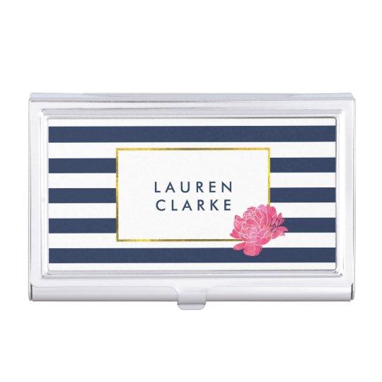 Navy Stripe & Pink Peony Business Card Holder
