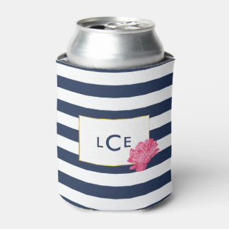 Navy Stripe & Pink Peony Monogram Can Cooler