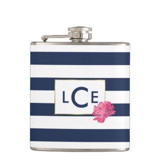 Navy Stripe & Pink Peony Monogram Flask