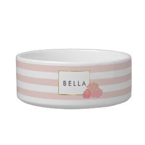 Navy Stripe & Pink Peony Personalised Pet Bowl