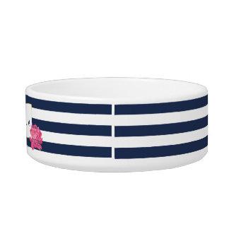 Navy Stripe & Pink Peony Personalised Pet Bowl