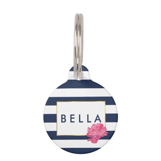 Navy Stripe & Pink Peony Personalised Pet Tag