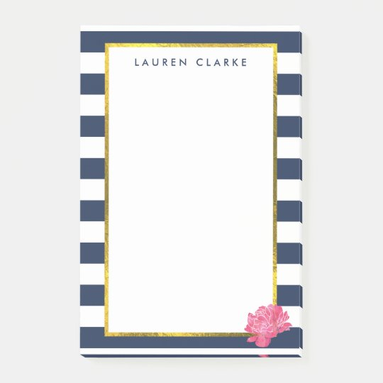Navy Stripe & Pink Peony Personalised Post-it Notes