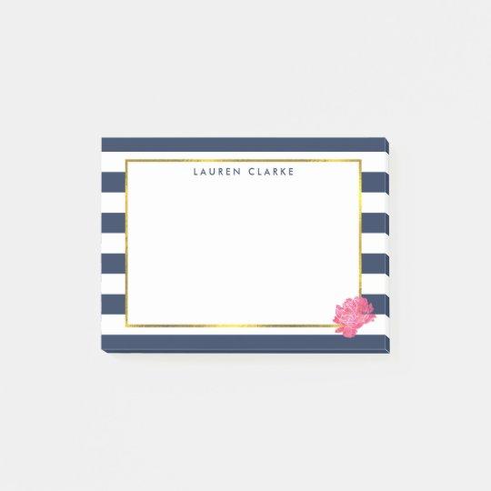 Navy Stripe & Pink Peony Post-it Notes