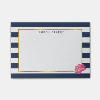 Navy Stripe & Pink Peony Post-it Notes