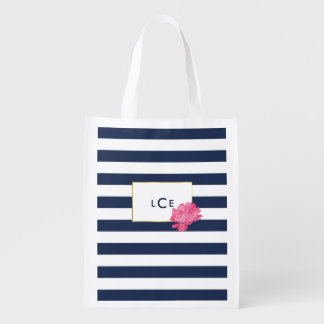 Navy Stripe & Pink Peony Reusable Grocery Bag