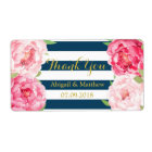 Navy Stripe Pink Watercolor Floral Wedding Labels