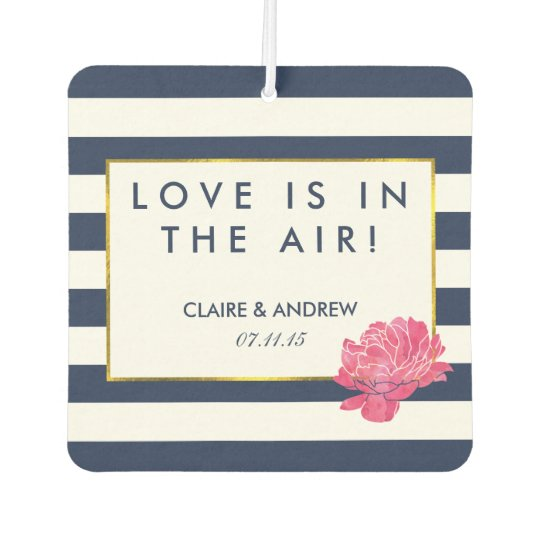 Navy Stripe & Pink Wedding Favour Air Freshener