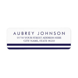 Navy Striped Address Labels