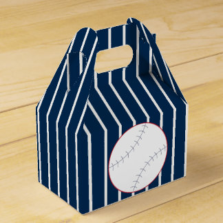 Navy Striped Baseball Favor Box