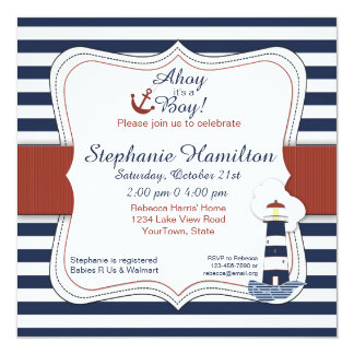 Navy Striped Lighthouse Baby Shower Invite