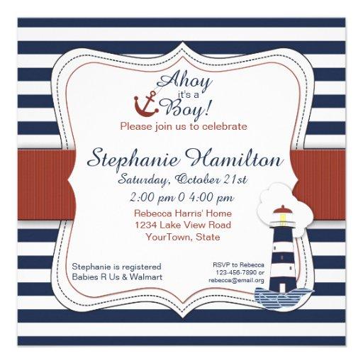 Navy Striped Lighthouse Baby Shower Invite