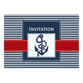 navy stripes, anchor, nautical wedding invites