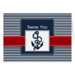 navy stripes, anchor, nautical wedding Thank you Greeting Cards