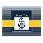 navy stripes,anchor, nautical wedding Thank you Post Card