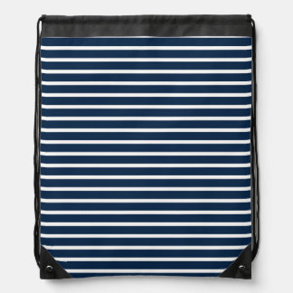 Navy Stripes Cinch Bags