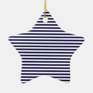 Navy Stripes Ceramic Star Decoration