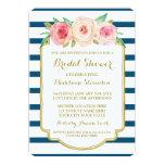 Navy Stripes Gold Pink Floral Bridal Shower 13 Cm X 18 Cm Invitation Card