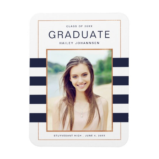 Navy Stripes Graduation Photo Magnet