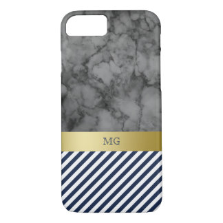 Navy Stripes & Marble Monogram iPhone 8/7 Case