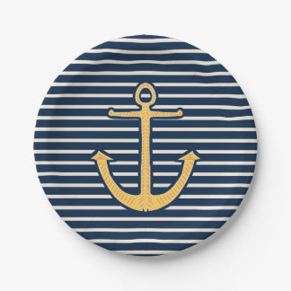 Navy Stripes Nautical Anchor 7 Inch Paper Plate