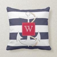 Navy Stripes Nautical Anchor Cushion
