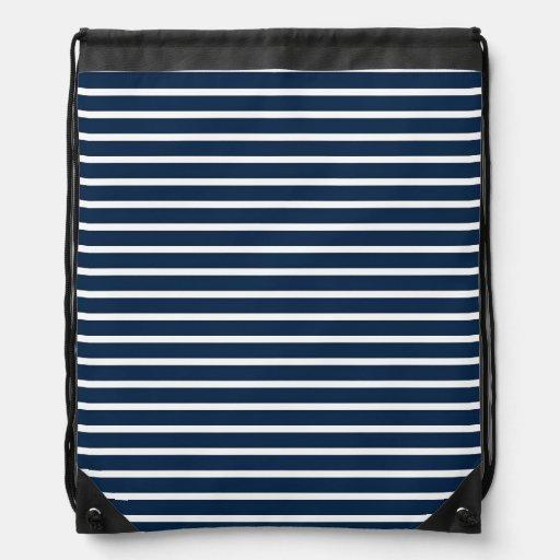 Navy Stripes Cinch Bags