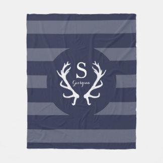 Navy Stripes Rustic Deer Antlers Monogram Fleece Blanket