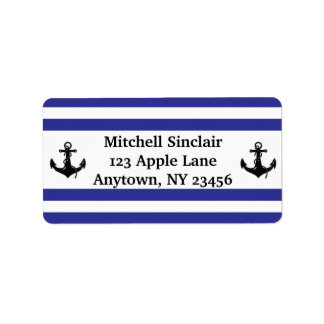Navy Stripes with Anchors Label