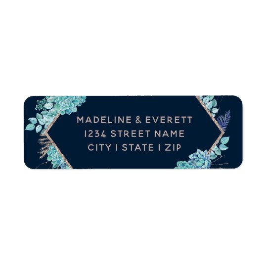 Navy Succulents & Rose Gold Wedding Return Address