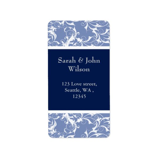 navy swirls ,return address label