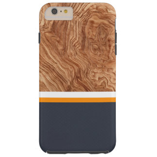 Navy Tangerine & White Wood Case