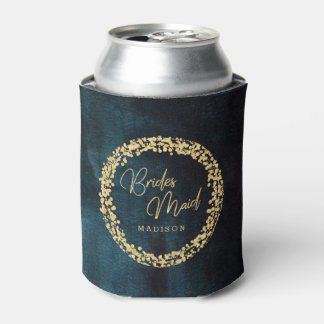 Navy Teal Blue Watercolor Gold Wedding Bridesmaid Can Cooler