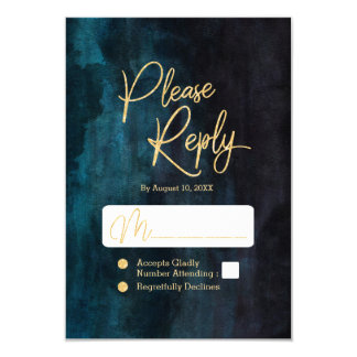 Navy Teal Watercolor & Gold Wedding Reply RSVP Card