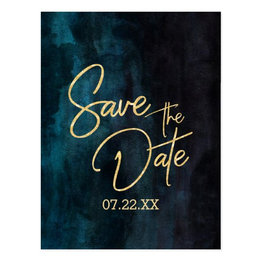 Navy Teal Watercolor & Gold Wedding Save the