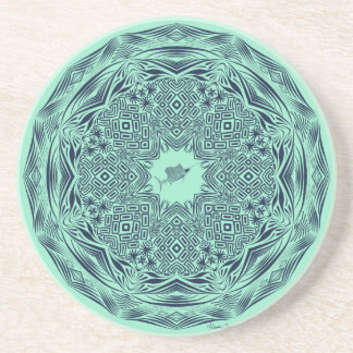 Navy Tribal Sailfish Mandala on Mint Coaster