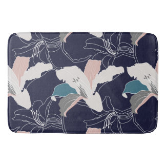 Navy Tropical Floral Bath Mat Bath Mats
