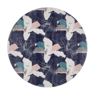Navy Tropical Floral Chopping Board Cutting Boards