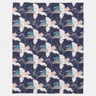 Navy Tropical Floral Fleece Throw