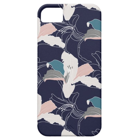 Navy Tropical Floral Phone Case