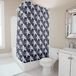 Navy Tropical Floral Shower Curtain