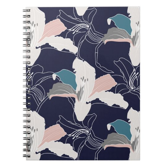 Navy Tropical Floral Spiral Notebook