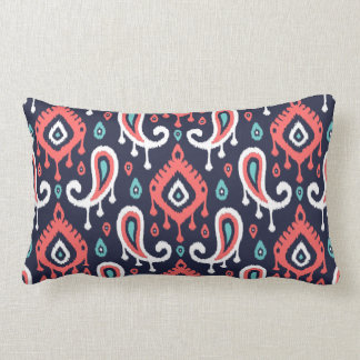Navy Turquoise and Coral Ikat Paisley Lumbar Cushion