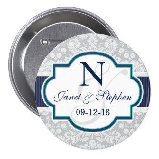 Navy, Turquoise, Gray Damask Wedding 7.5 Cm Round Badge