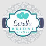 Navy, Turquoise, Grey Damask Bridal Shower Round Sticker