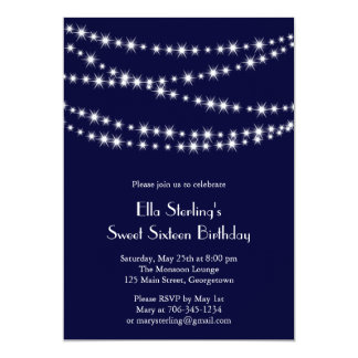 "Navy Twinkle Lights Birthday Invitation 5"" X 7"" Invitation Card"