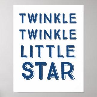 Navy Twinkle Twinkle Little Star   Nursery Art Poster