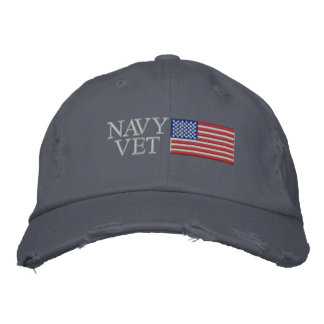 Navy Vet with American Flag Embroidered Baseball Caps