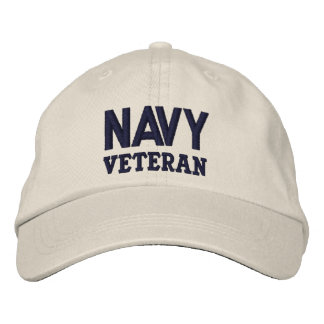 Navy Veteran Blue on Ivory Embroidered Hat
