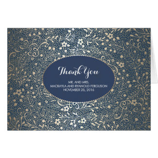 Navy Vintag Floral Gold Wedding Thank You Note Card
